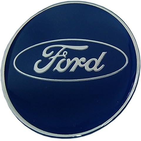 Ford Focus Bleu Cap Centre de roue en alliage Autocollant badge Autocollant Lot de 4* Verre époxy Résine * 55mm