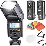 Neewer NW685C E-TTL II * Sincronización de Alta Velocidad * 1/8000s HSS LCD Display Speedlite Flash Kit para Canon 5d mark ii/iii 7d 30d 40d 50d 60d 400d/XTi 450d/XSi 500d/T1i 550d/T2i 600d/T3i 650d/T4i 1000d/XS 1100d/T3DSLR Cámaras, incluye: (1) Neewer NW685C Flash + (1) 3en 12.4GHz inalámbrico disparador de flash + (1)–Filtros de gel de color + (1) Deluxe Flash caso + (2) Cables (C1-Cord + C3-Cord)