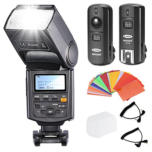 Neewer® NW685C E-TTL Flash Speedlite Kit con Sincronizzazione ad Alta Velocità e Schermo LCD 1/8000s HSS Speedlite per Canon 5D Mark II/III 7D 30D 40D 50D 60D 400D/XTi 450D/XSi 500D/ T1i 550D/T2i 600D/T3i 650D/T4i 1000D/XS 1100D/T3 DSLR,, Inclusi: (1) Neewer NW685C Flash + (1) 3-in-1 2.4Ghz Wireless Flash Trigger + (1) 35 Filtri a Colori + (1) Custodia Deluxe + (2) Cavi (N1-Cord +