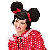 Schwarze Mini Maus Perücke mit Ohren Damenperücke Mausperücke Karneval Fasching JGA Frauenperücke Ohrenperücke