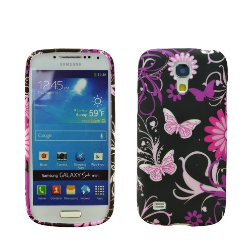 Image of zkiosk set of 4 Silicone Gel Protective Case Samsung Galaxy S4 mini i9190 design selection 7 Flowers Butterfly (pink/red/white/bronze/black/purple/green)