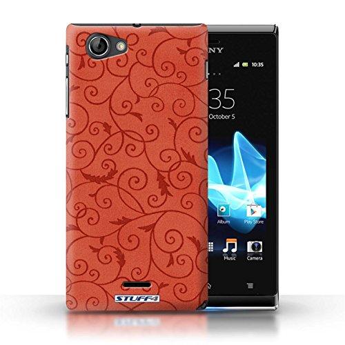 Kobalt® Imprimé Etui / Coque pour Sony Xperia J (ST26i) / Orange conception / Série Motif de la vigne Rouge