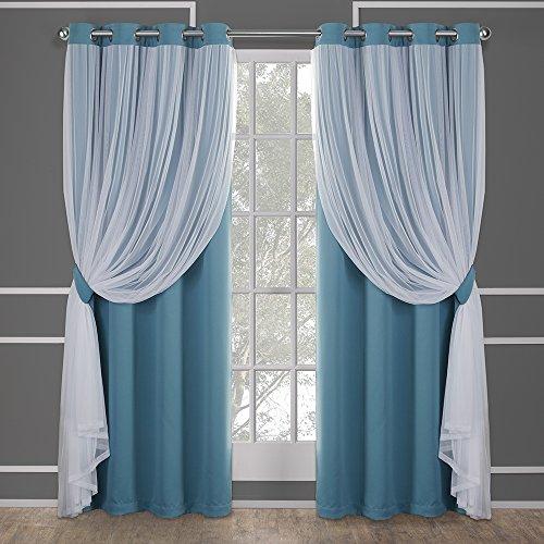 Exclusive home catarina layered coppia pannello oscurante e velo tenda della finestra con occhielli, poliestere, turchese, 108x 52x 0.2cm