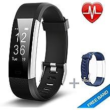 Lintelek ID115Plus HR-BK, Fitnees armband Lintelek Herzfrequenzmesser schlank HR Plus Wasserdichte Fitness Tracker Bluetooth Schrittzähler Smart Armband Fitness Uhr mit einem kostenlosen Ersatzarmband