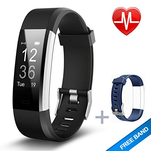 Fitnees armband Lintelek Herzfrequenzmesser schlank HR Plus Wasserdichte Fitness Tracker Bluetooth Schrittzähler Smart Armband Fitness Uhr mit einem kostenlosen Ersatzarmband (Herren Fit-sensor)
