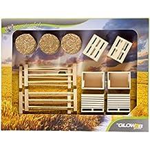 Niños Globe 1000579 - Conjunto de cajas, palets, paja y cercas, maquinaria agrícola