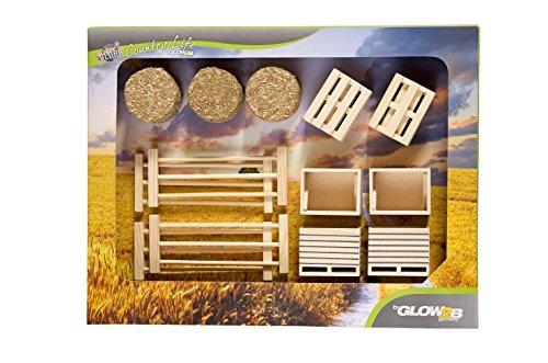 Unbekannt KidsGlobe 1000579 - Set mit Kisten, Paletten, Stroh und Zäune, Bauernhofzubehör, Preisvergleich