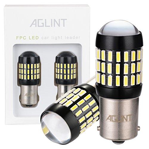 AGLINT 2X P21W 1156 LED Bombilla LED Súper Brillante 66SMD 4014 BA15S LED Bombillas Freno Señales de Giro de Seguridad Utilizan Para Cola de Copia de Seguridad Reverse Luces (Blanco, P21W)