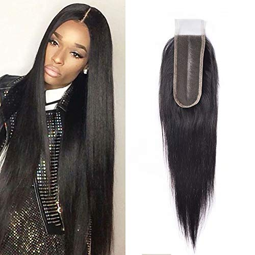 le Part Lace Closure Real Human Hair 9A Brazilian Virgin Remy Hair Unprocessed Silky Straight Closure with Baby Hair (16 inch£¬Natural Color) ()