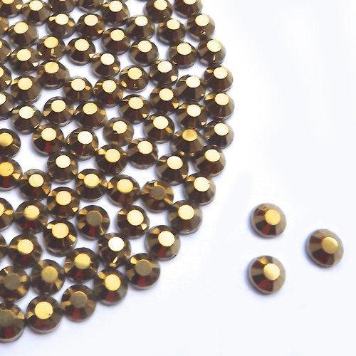 Diamante Me Mine Hotfix strass or 500 par paquet taille 2/3/4 mm, 250 x 5 mm et 150 x 6 mm, doré, 6 mm