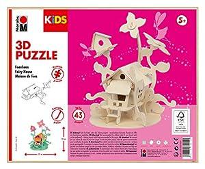 Marabu 0317000000010 - Puzzle Infantil en 3D (43 Piezas), diseño de Hadas 21 x 23 cm, Color marrón