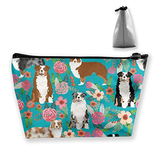 Australian Dogs Floral Cute Aussie Dog Beauty Travel Make Up Bags Toiletry Case with Zipper -