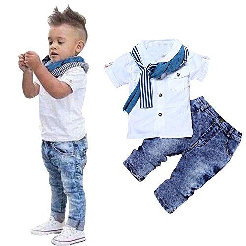 OSYARD Baby Junge Kleidung Satz, Kinder Baby Jungen Kurzarm T-Shirt Tops + Schal + Lang Hose Kleidung Outfits,Kleinkind Kids 3-teiliges Set mit Weiß Blusen,Streifen Schal und Thermohose Jeanshosen