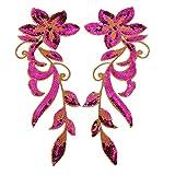 Ximkee Bügelbild mit tanzender Orchidee/Blumen auf Weinrebe, bestickte Applikationen, zum Aufnähen/Aufbügeln, 2Stück rose