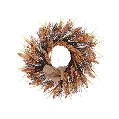 PRETYZOOM Tür Kranz Thanksgiving Dekor Herbst Herbst Ernte Weizen Handarbeit Garland Veranda Eingang Dekoration (60cm)