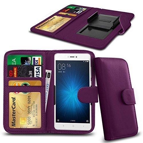 N4U ONLINE - Verschiedene Farben Clip Serie PU- Leder Brieftasche Buch Hülle für Cubot H1 - Lila