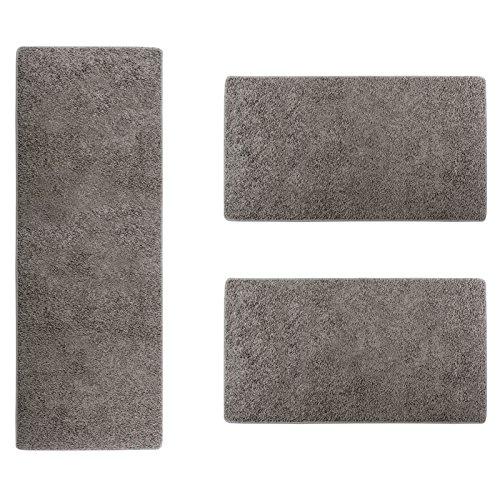 Scendiletto camera da letto - set tappeti da camera da letto 3 pezzi, shaggy, morbidi, in vari colori - grigio