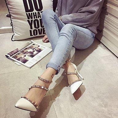 Moda Donna Sandali Sexy donna caduta tacchi Comfort PU Casual Stiletto Heel Rivetto nero / bianco / nudo altri White
