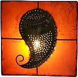Guru-Shop Henna - Leder Wandlampe/Wandleuchte Mango, Orange, Farbe: Orange, 31x31x10 cm, Orientalische Wandleuchten