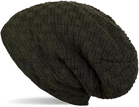 styleBREAKER warme Feinstrick Beanie Mütze mit Flecht Muster und sehr weichem Fleece Innenfutter, Unisex 04024058, Farbe:Tannengrün dunkel