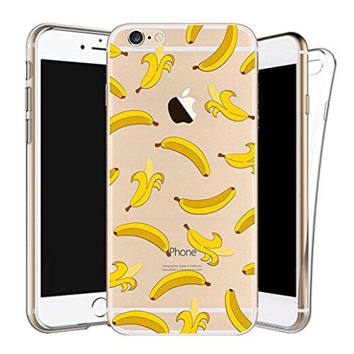 Custodia iPhone 6/6s [Pellicola Protettiva in Vetro Temperato], Yoowei® Design Colorato Cristallo Trasparente Ultra Sottile Morbido TPU Gel Case Cover per iPhone 6/6s 4.7 (UFO) Banana