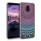 kwmobile Cover compatibile con Samsung Galaxy J6 - Custodia in silicone TPU - Backcover protettiva cellulare blu / fucsia / trasparente