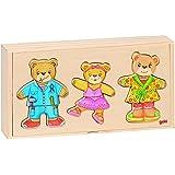 Goki - Familia de osos, 12 vestidos y 36 piezas, de madera (Gollnest & Kiesel 57811.0)