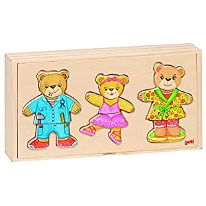 Goki - 2041681 - Puzzle En Bois À Habiller - Ours Famille - 36 Pièces