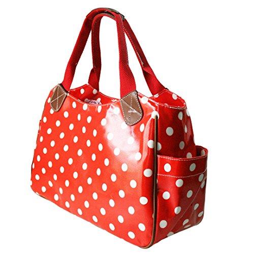 Miss Lulu , Damen Tote-Tasche Rot mit Punkten