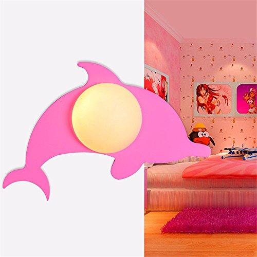 SADASD Warme und Schöne Cartoon Kinderzimmer Wandleuchte Schlafzimmer Bett Dolphin Wandleuchte, 20-30 W, Rosa Optional: Lampen + warmes Licht LED-Leuchten LED