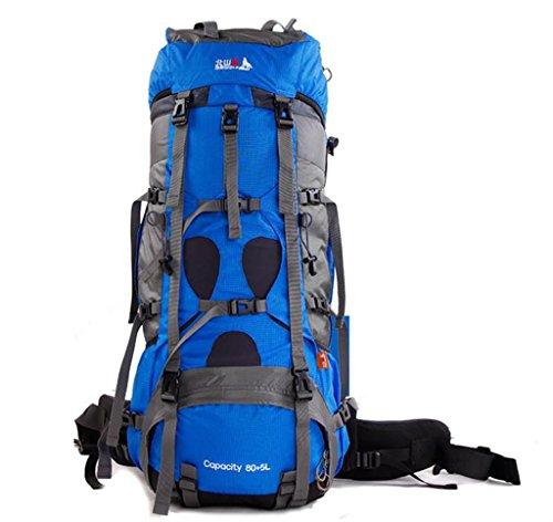 Outdoor-Klettern Tasche mit großer Kapazität wasserdichte Wanderrucksack Männer und Frauen Rucksack 85L Blue Moonlight