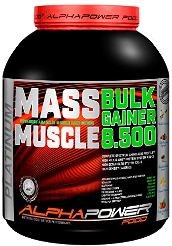 ALPHAPOWER FOOD Maas - Whey, Muscle Weight Gainer I Mega, Muskelmasse & Muskelaufbau - Protein - Eiweiß, Kohlenhydrate - Pulver - Shake für Hardgainer, 2kg Vanille + Creatin, Bcaa, MCT Öl -
