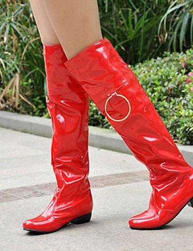 Redondo Vermelha Moda Botas Shangyi Imitação Couro Feminina Exterior Calcanhar Moda Casuais Sapatos Primavera Outono Inverno 1waqg0x