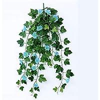 Maceta para colgar en la pared Falsas plantas colgantes, artillial Morning Glory colgante de pared decoración de ratán colgante decorativo planta de seda para adornos de exterior y de interior decora