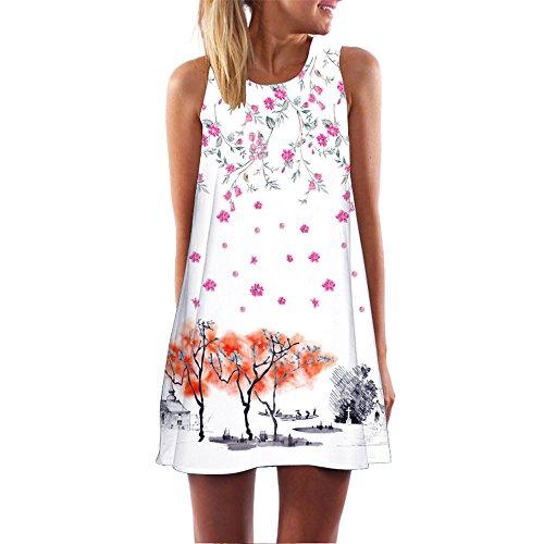 VEMOW Vintage Boho Frauen Sommerkleider Sleeveless Strand Gedruckt Kurzes Minikleid Eine Linie Abendkleid Täglich beiläufige Partei Weste T-Shirt Kleid Plus Size Rock(X1Weiß 20, EU-42/CN-M)