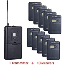 ZLWUS 800R Tour Guide System , UHF794~806MHz Digital AudioGuias y AudioGu¨ªas (1pc Transmisor + 10pc Auricular)Para Ense?anza Visiting and Conference(Gris)