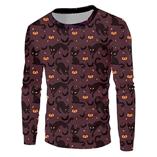 Ai Ya-weiyi Mann Schwarz Gelbe Nähte Pullover 3D-Gedruckten Halloween Thema Katze Und Kürbis Neue Empfehlen Sweatshirt