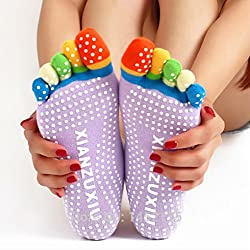 1 Pair Five Toe Rubber Yoga Pilates Fitness Socks Non Slip Massage