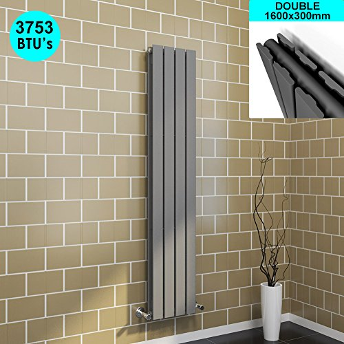 sunny showers 1600x300mm Vertical Column Radiator Double Flat Panel Anthracite Designer Bathroom Radiator