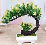 LOF-fei Künstliche Pflanzen Topfpflanzen Dekoration Büro Esstisch Zubehör,Grün gelben Quadrat Keramik Blumentöpfe