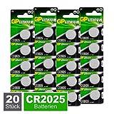 GP CR2025 Lithium Knopfzellen 3V, Knopfbatterien CR 2025 Spannung 3 Volt für verschiedenste Geräte- und Verbraucheranwendunge