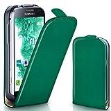 moex Samsung Galaxy S4 Mini | Hülle Dunkel-Grün 360° Klapp-Hülle Etui thin Handytasche Dünn Handyhülle für Samsung Galaxy S4 Mini Case Flip Cover Schutzhülle Kunst-Leder Tasche