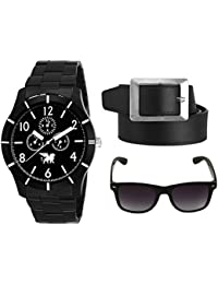 CARLOS Combo Of Stylsih Black Color Dial Watch, Leather Black Color Belt And Sunglasses For Men & Boy's