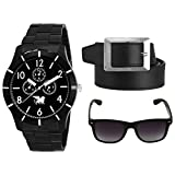 #9: CARLOS Combo of Stylsih Black Color Dial Watch, Leather Black Color Belt and Sunglasses For Men & Boy's
