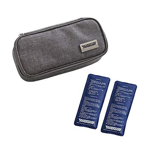 Insulin Kühltasche Diabetiker Organizer Tragbar Medikamente Kühler Tasche Insulin Cooler Bag Diabetikerzubehör with 2 Kühlakkus für Medikamente Thermotasche - 21 x 10 x 4.5 cm (Grau)