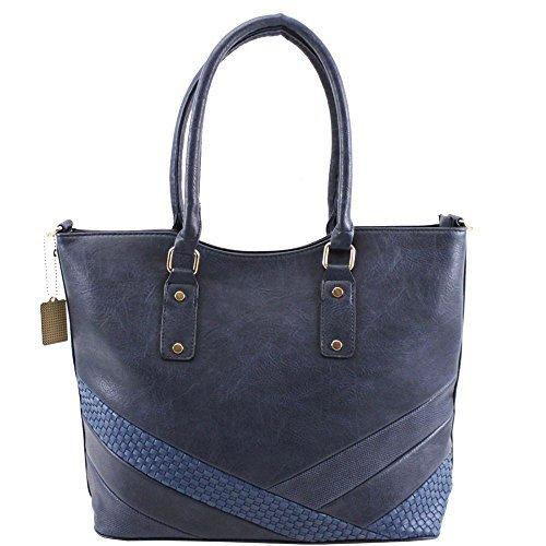 bd37788f67b1a Haute für Diva S Neu Damen Kunstleder Panel Design groß Einkaufstasche  Schulter Handtasche - Marine
