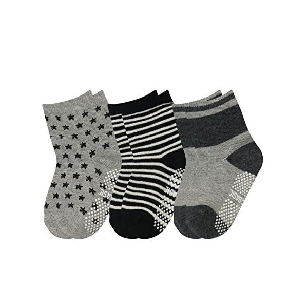 GOPOWD 6 pares de Calcetines Antideslizantes para Bebé Oscuro Color Aleatorio para 1-36 Meses Niños 3