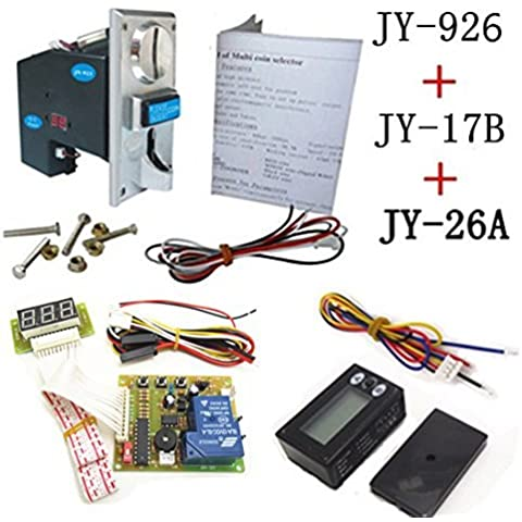 926A+17B+26A coin operated time control device for cafe kiosk, multi coin selector with timer board and reset counter by Juyao