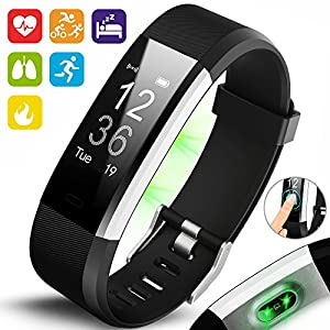 Aquarius AQ125HR Touch Screen Fitness Activity Tracker with Dynamic Heart Rate Monitor, Multi Sport Tracking, Sleep Tracking, GPS Connection and Call and Message Notification for Android and Apple IOS (Black)