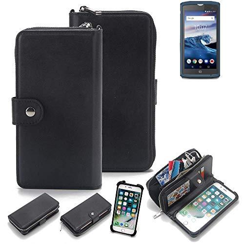 K-S-Trade 2in1 Handyhülle kompatibel mit Crosscall Core X3 Schutzhülle & Portemonnee Schutzhülle Tasche Handytasche Case Etui Geldbörse Wallet Bookstyle Hülle schwarz (1x)